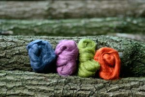 Colorful linen fibres standing in line