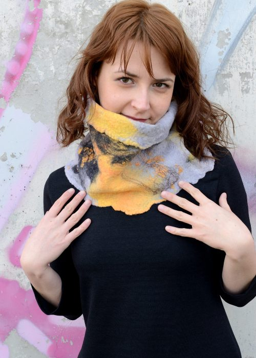 Felted cowl scarf