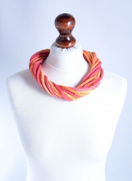 Felted wool necklace in red and orange