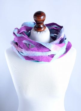Handmade infinity scarf in fuchsia and blue