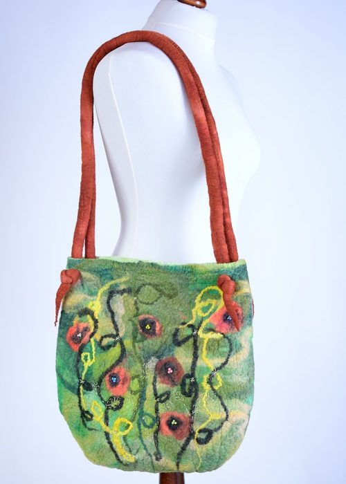 Large green poppy bag for carrying on your shoulder