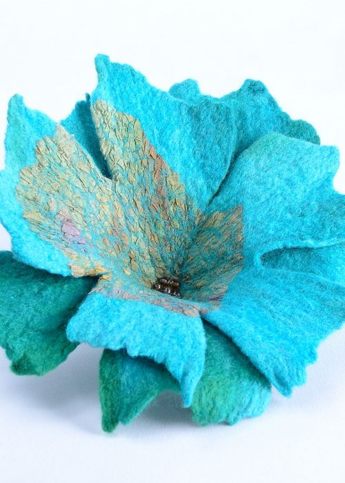 Turquoise nuno felted brooch
