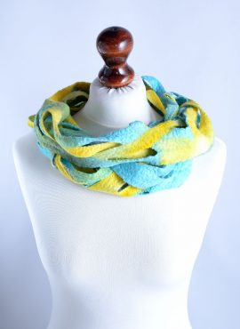 Wool infinity scarf in azure and yellow