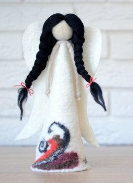 Felted angel figurine for nativity or christmas tree