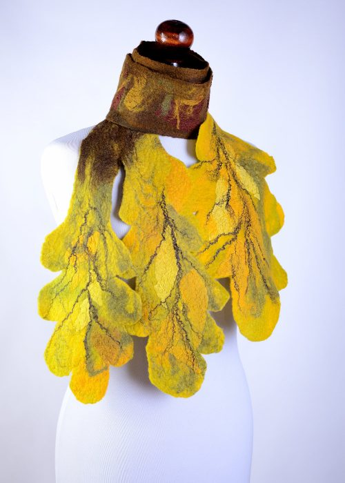 Felted autumn leaf scarf with yellow oak leaves