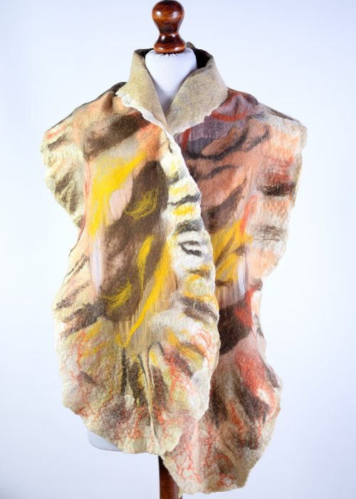 Nuno felted scarf in beige
