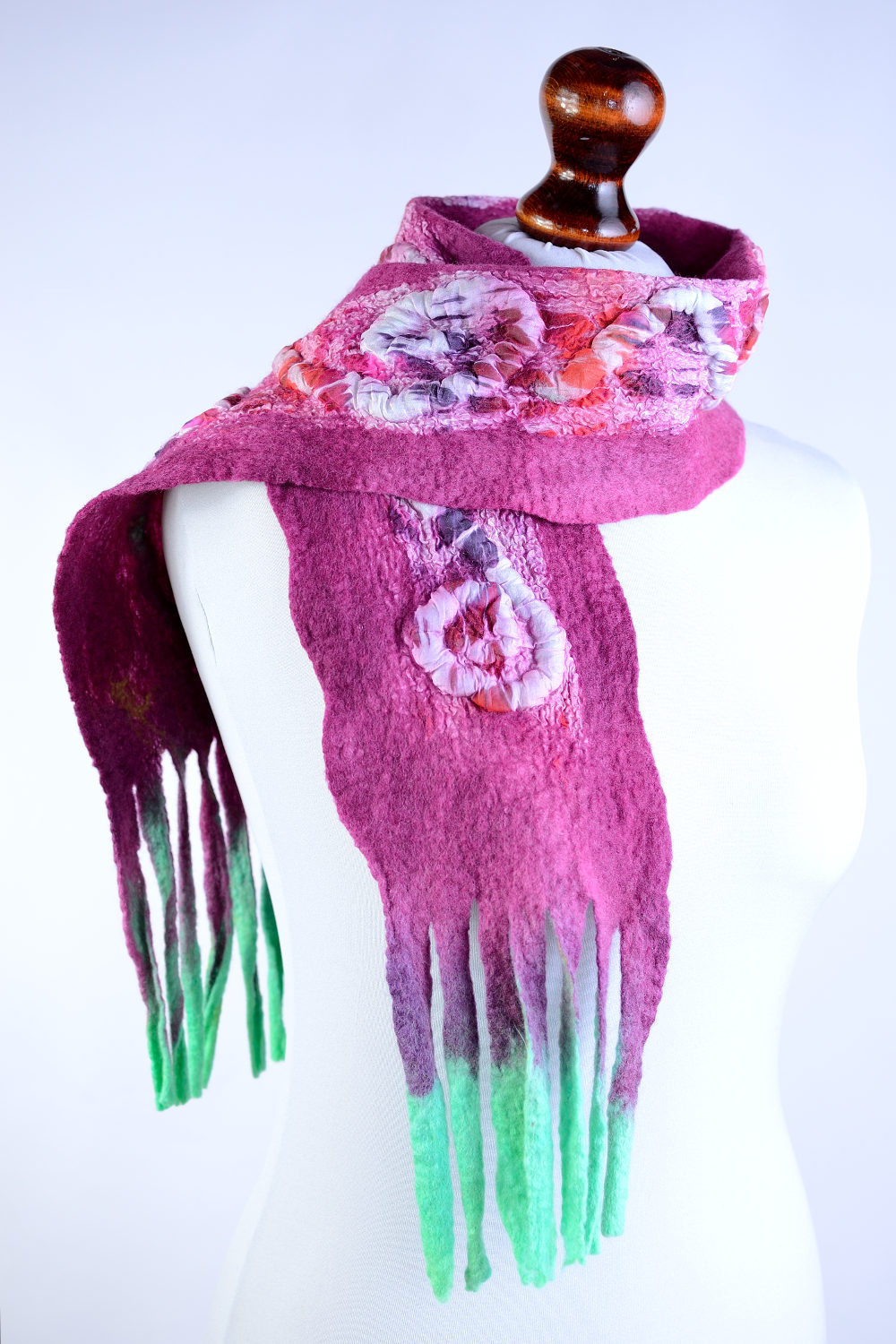 pink scarf nuno felted by for or