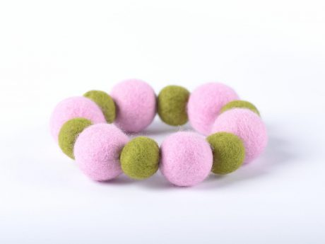 Felted bead bracelet in two colors