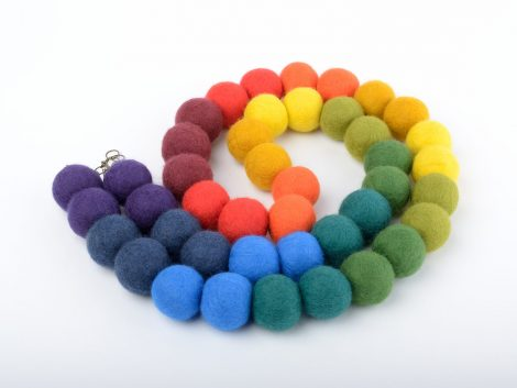 Colorful felt bead necklace