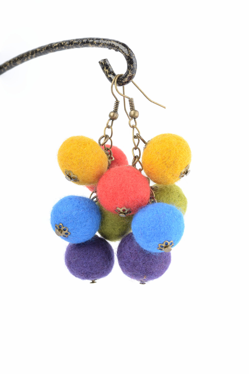 Felt Ball Earrings With Cluster Or Bunch Design