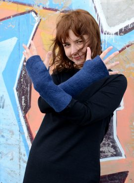 Felted mittens in blue