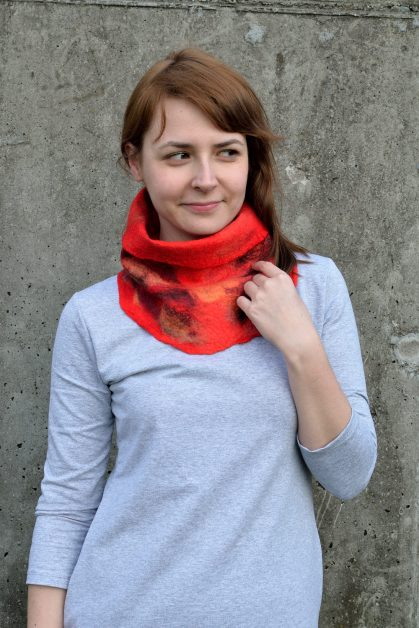 Red cowl scarf