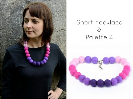 Chunky felt bead necklace in pink and purple tones