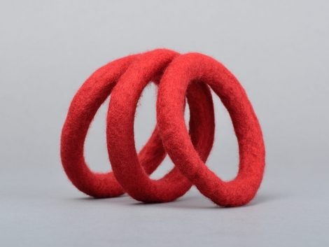 Felted bangles in red