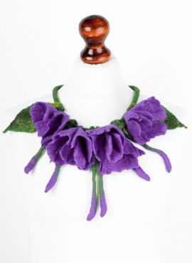 Felt flower necklace in purple and green