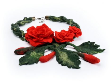 Felt rose necklace