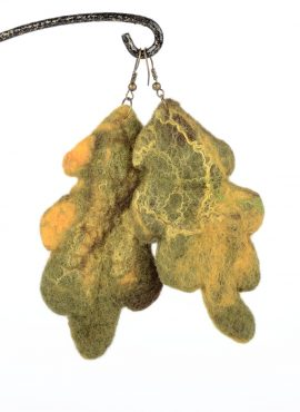 Felted oak earrings