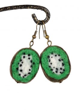 Felted kiwi earrings in exotic style