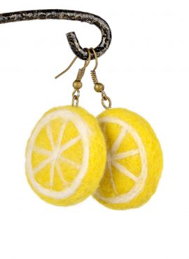 Felted lemon earrings