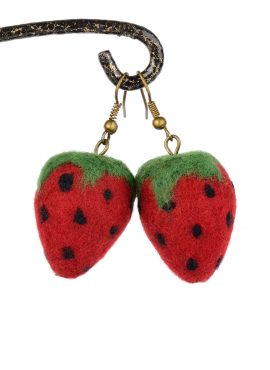 Felted strawberry earrings