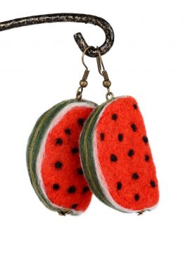 Felted watermelon earrings
