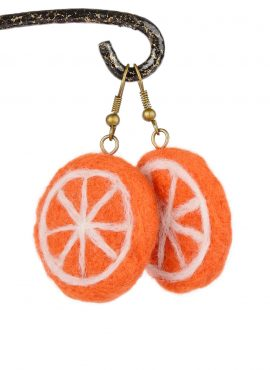 Orange slice earrings in kawaii style