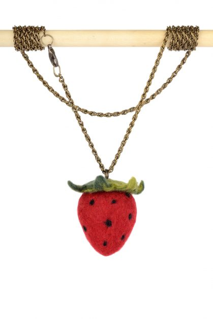 Strawberry pendant with real size fruit