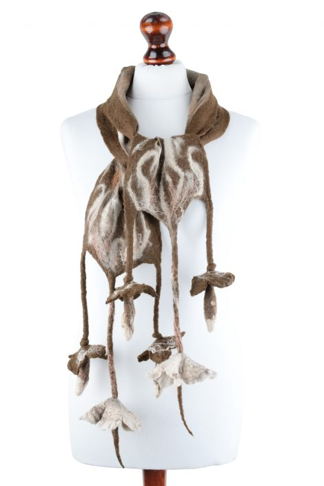 Autumn nuno felt scarf for women with brown flowers
