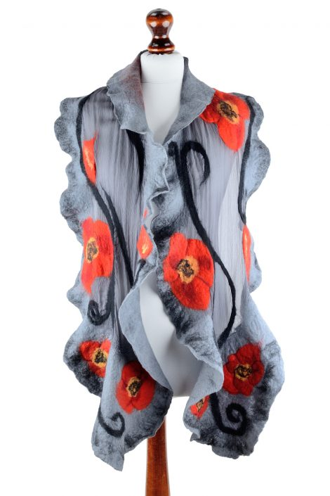 Nuno felt poppy shawl for women