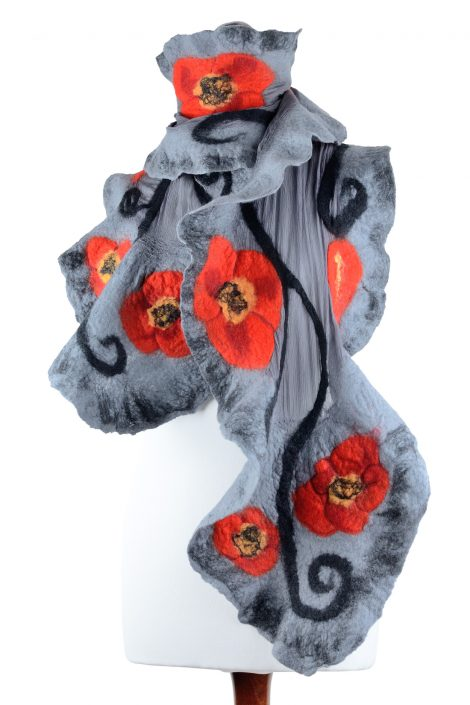 Stylish nuno felt shawl with poppies