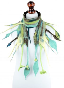 Green fringe scarf for fall and spring