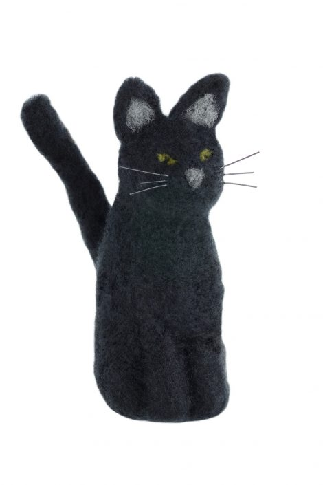 Needle felted black cat figurine