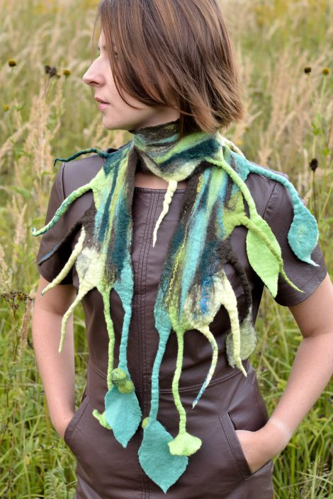 Unique women scarf with leaves and flowers