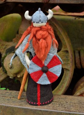Viking figurine with sword and shield