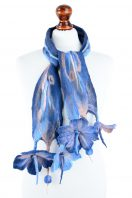Nuno felt flower scarf in blue and pink