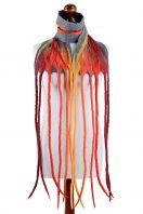 Red nuno felt scarf with a very long fringe