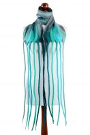 Turquoise nuno felt scarf with a very long fringe