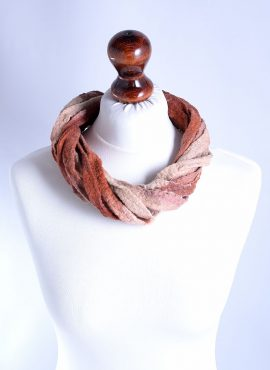 Beige and brown necklace made of felted ribbons