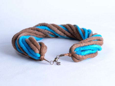 Blue and brown rope necklace