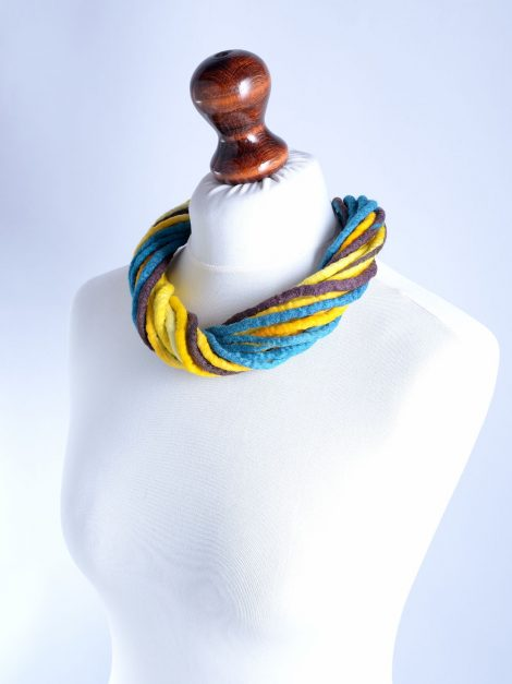 Bohemian necklace made of felt ropes