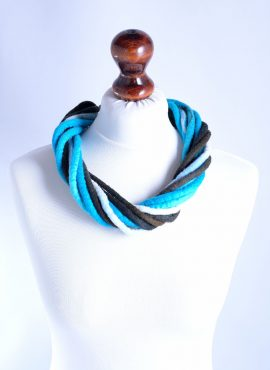 Ethnic felt necklace made of blue and black rope