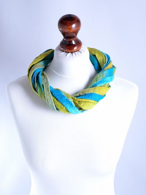 Felt boho necklace in turquoise and yellow