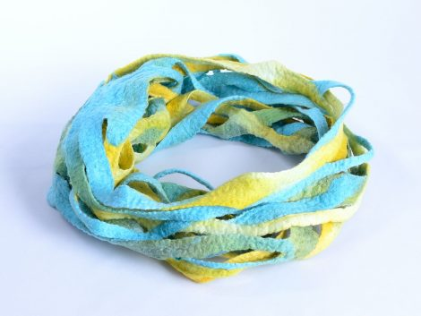 Felt infinity scarf in azure and yellow
