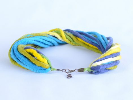 Felt necklace in blue and yellow