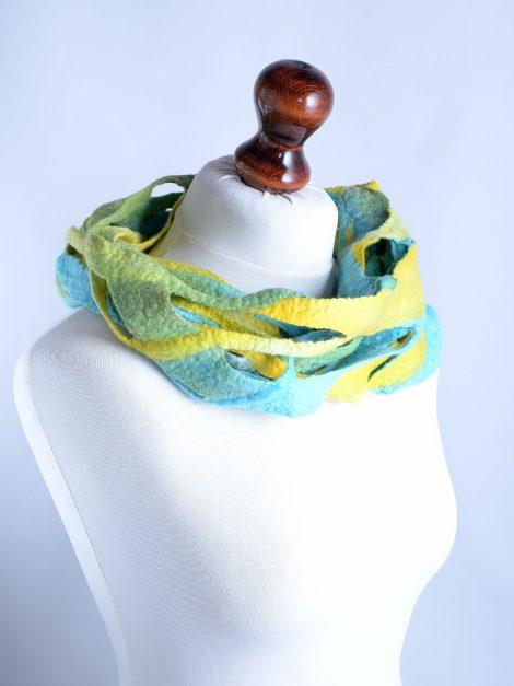 Felted infinity scarf in azure and yellow