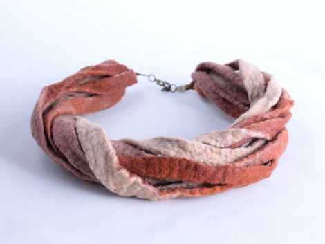 Felted necklace in beige and brown