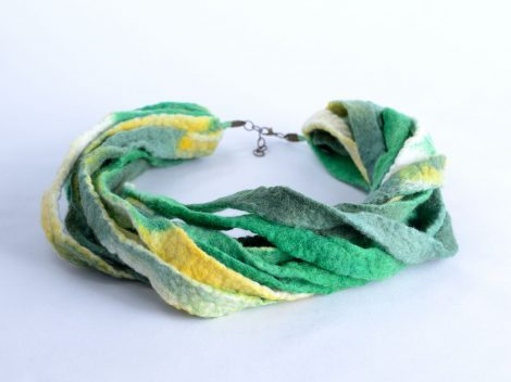 Green and yellow felt necklace