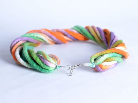 Hand dyed rope necklace with twist design