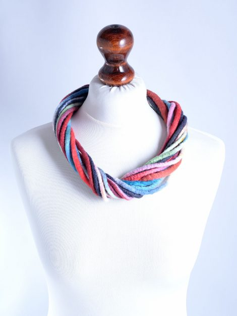 Marine necklace made of felted rope