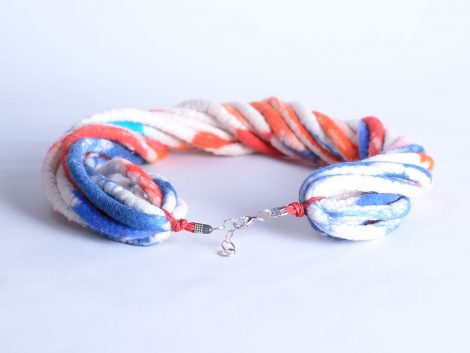Multistrand necklace made of twisted rope